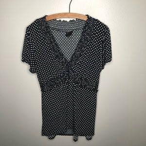 Torrid Black and White Polka Dot Short Sleeve